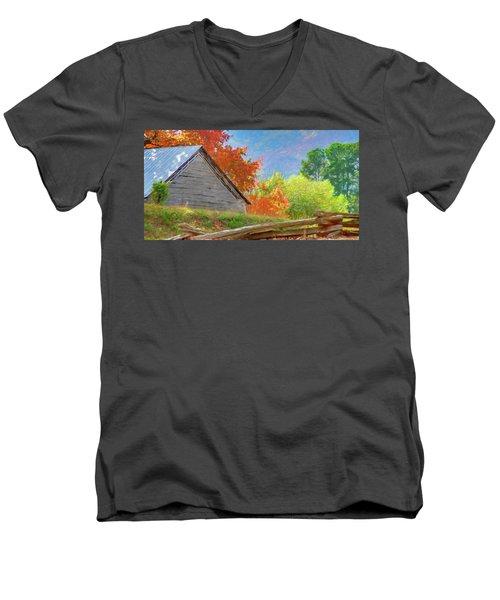 Autumn Barn Digital Watercolor Men's V-Neck T-Shirt