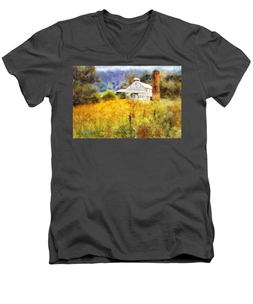 Men's V-Neck T-Shirt featuring the digital art Autumn Barn In The Morning by Francesa Miller