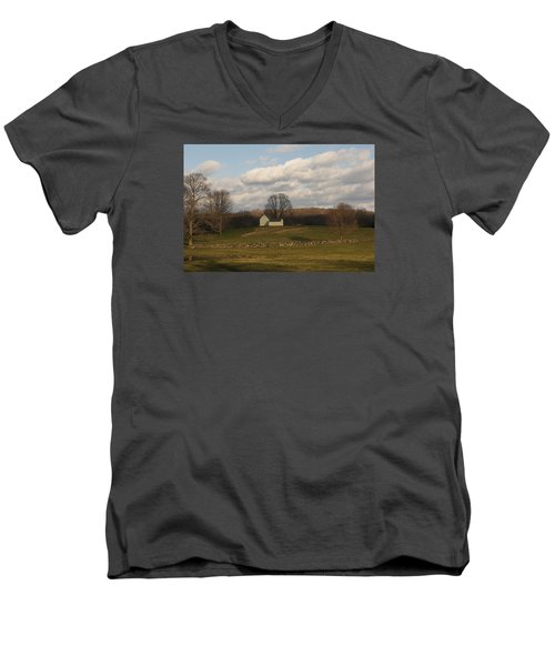 Men's V-Neck T-Shirt featuring the photograph Autumn Barn On The Meadow by Margie Avellino