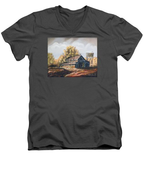 Men's V-Neck T-Shirt featuring the painting Autumn Barnyard by Sherril Porter