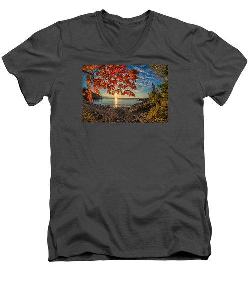 Men's V-Neck T-Shirt featuring the photograph Autumn Bay Near Shovel Point by Rikk Flohr