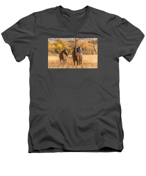 Men's V-Neck T-Shirt featuring the photograph Autumn Beauty At Dawn by Yeates Photography