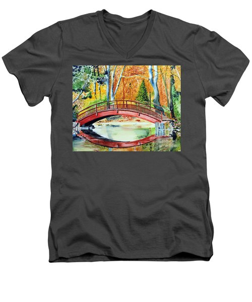 Men's V-Neck T-Shirt featuring the painting Autumn Beauty by Tom Riggs