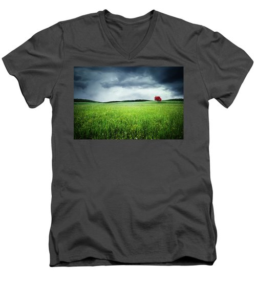 Men's V-Neck T-Shirt featuring the photograph Autumn by Bess Hamiti