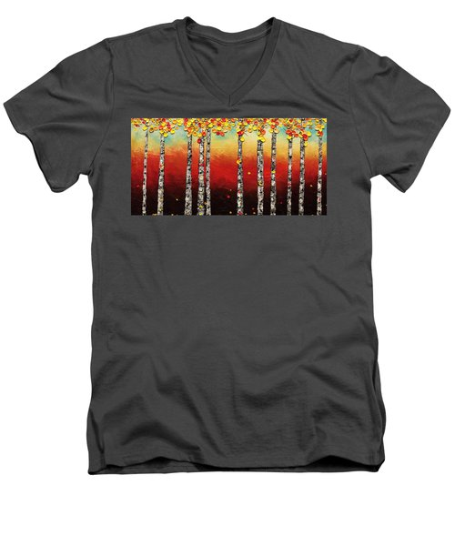 Men's V-Neck T-Shirt featuring the painting Autumn Birch Trees by Carmen Guedez
