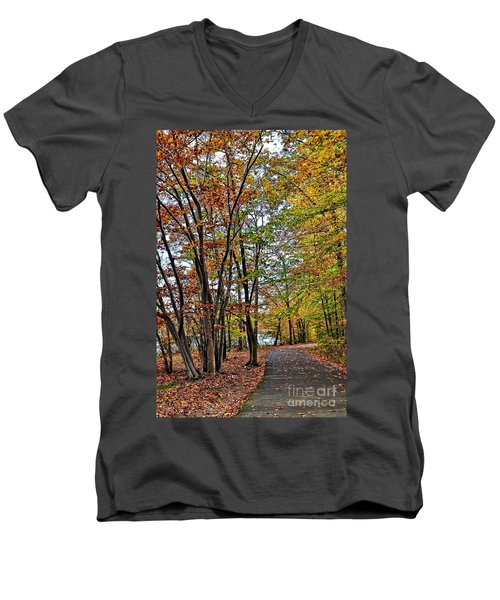 Autumn Bliss Men's V-Neck T-Shirt by Gina Savage