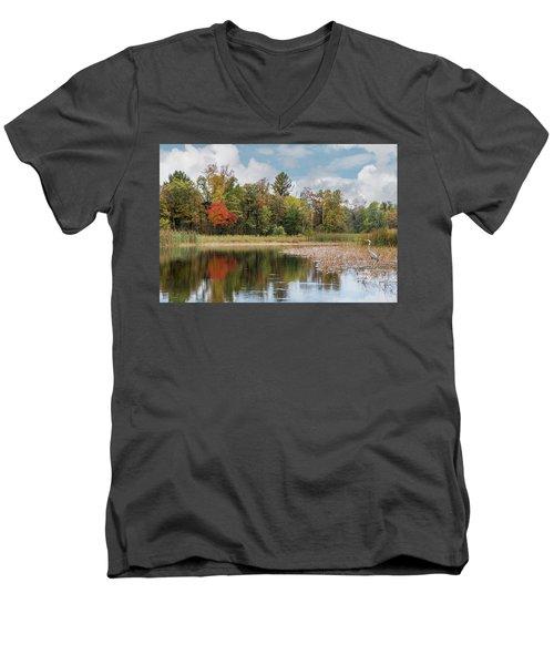 Autumn Blue Heron Men's V-Neck T-Shirt