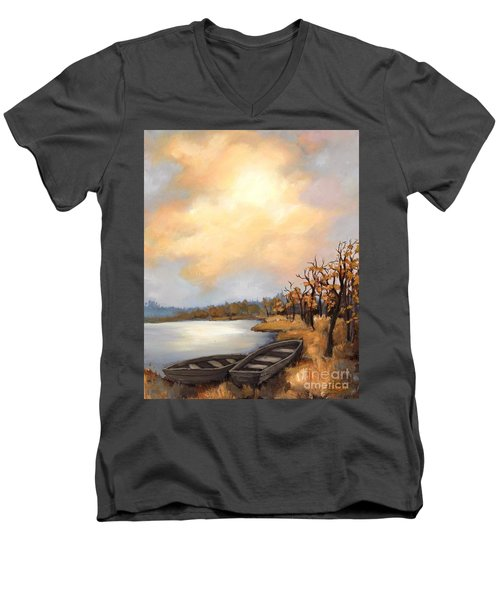 Autumn Boats Men's V-Neck T-Shirt by Inese Poga
