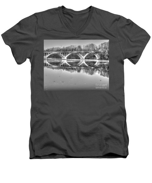 Autumn Bridge Reflections In Black And White Men's V-Neck T-Shirt