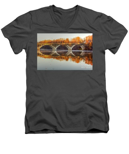 Autumn Bridge Reflections Men's V-Neck T-Shirt