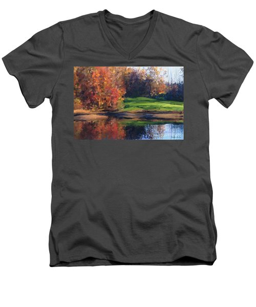 Autumn By Water Men's V-Neck T-Shirt