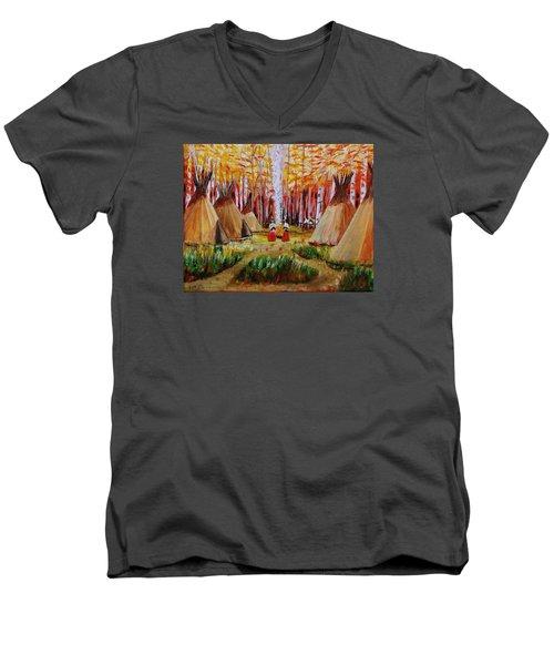 Autumn Camp Men's V-Neck T-Shirt by Mike Caitham