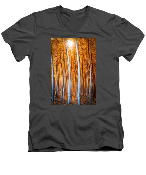 Men's V-Neck T-Shirt featuring the photograph Autumn Canopy Burst by Dan Mihai