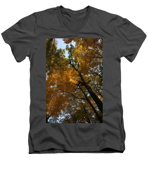 Men's V-Neck T-Shirt featuring the photograph Autumn Canopy by Shari Jardina