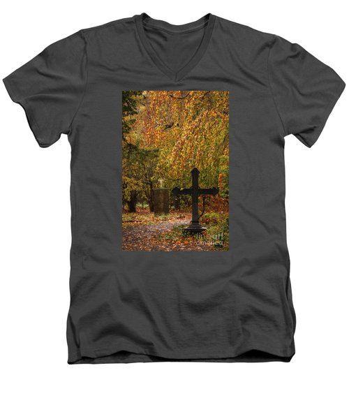 Men's V-Neck T-Shirt featuring the photograph Autumn Cemetary by Inge Riis McDonald