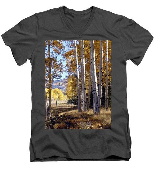 Autumn Chama New Mexico Men's V-Neck T-Shirt by Kurt Van Wagner