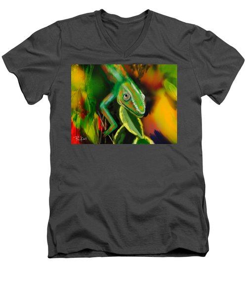 Autumn Chameleon Men's V-Neck T-Shirt by Diana Riukas