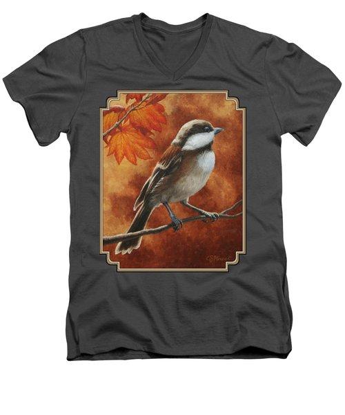 Autumn Chickadee Men's V-Neck T-Shirt