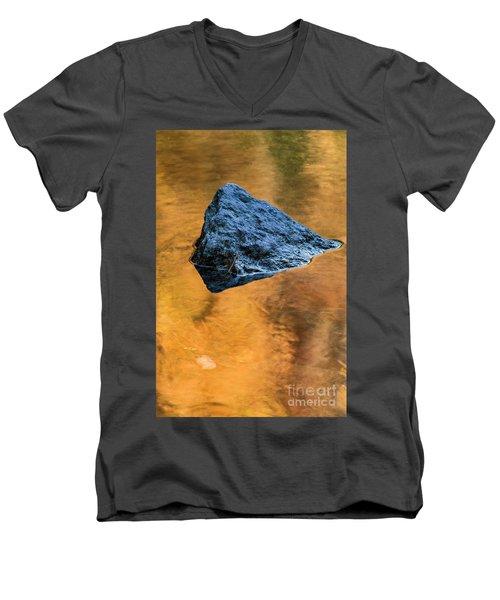 Men's V-Neck T-Shirt featuring the photograph Autumn Color On Little River - D009990 by Daniel Dempster