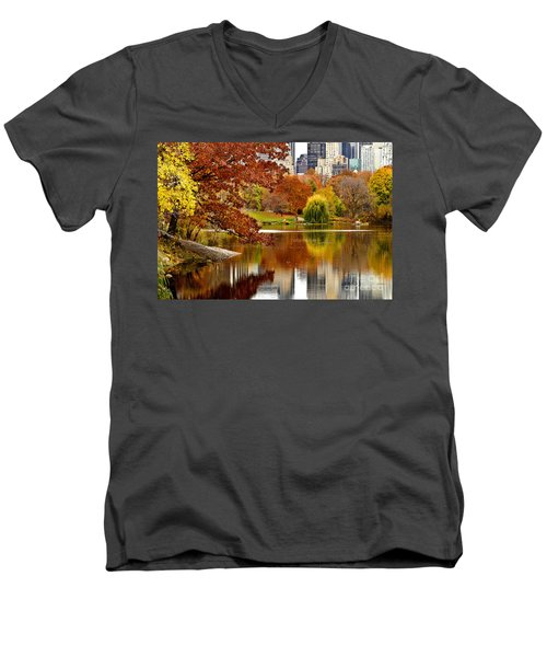 Autumn Colors In Central Park New York City Men's V-Neck T-Shirt by Sabine Jacobs