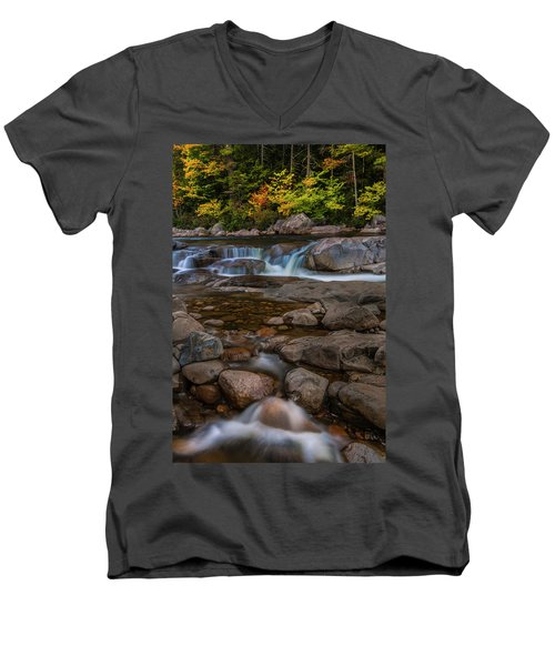 Men's V-Neck T-Shirt featuring the photograph Autumn Colors In White Mountains New Hampshire by Ranjay Mitra