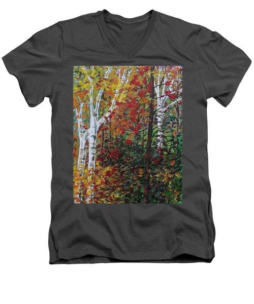Autumn Colors Men's V-Neck T-Shirt by Mike Caitham