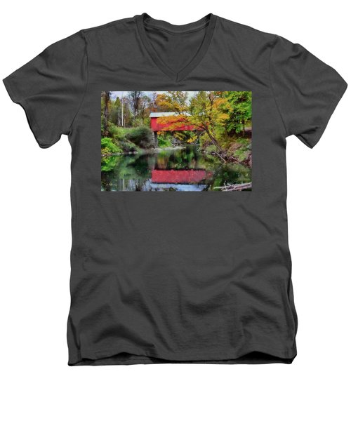 Autumn Colors Over Slaughterhouse. Men's V-Neck T-Shirt