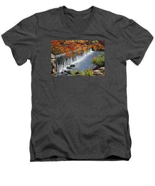 Men's V-Neck T-Shirt featuring the photograph Autumn Dam by Debbie Stahre