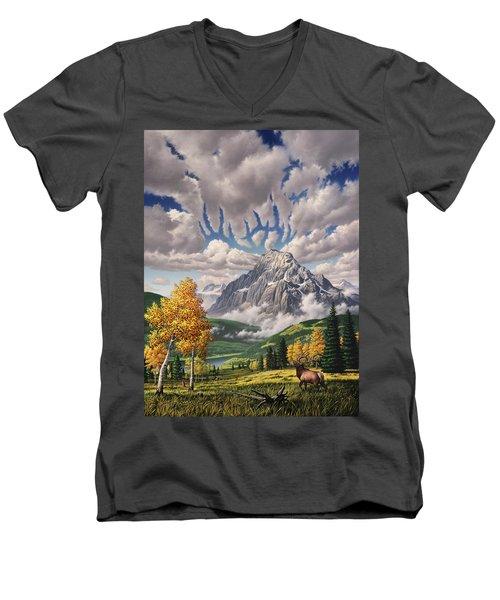 Autumn Echos Men's V-Neck T-Shirt by Jerry LoFaro