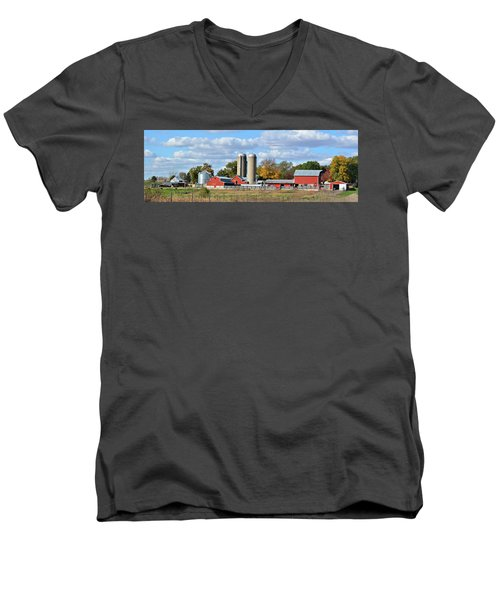 Autumn Elk Farm Men's V-Neck T-Shirt by Bonfire Photography