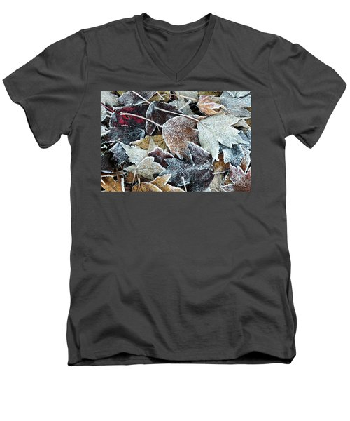 Men's V-Neck T-Shirt featuring the photograph Autumn Ends, Winter Begins 1 by Linda Lees