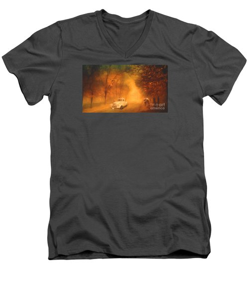 Autumn Evening Men's V-Neck T-Shirt by Jim  Hatch