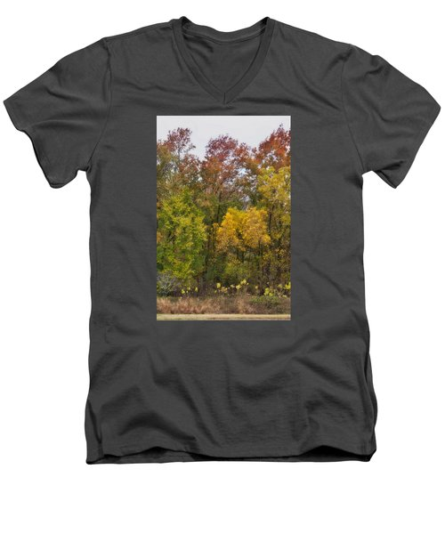 Men's V-Neck T-Shirt featuring the photograph Autumn Explosion by Joan Bertucci