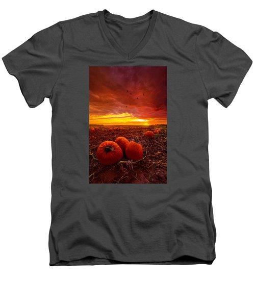 Autumn Falls Men's V-Neck T-Shirt by Phil Koch