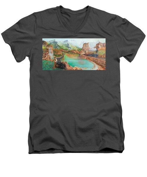 Autumn Men's V-Neck T-Shirt by Farzali Babekhan