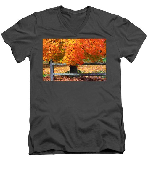 Autumn Fence Men's V-Neck T-Shirt