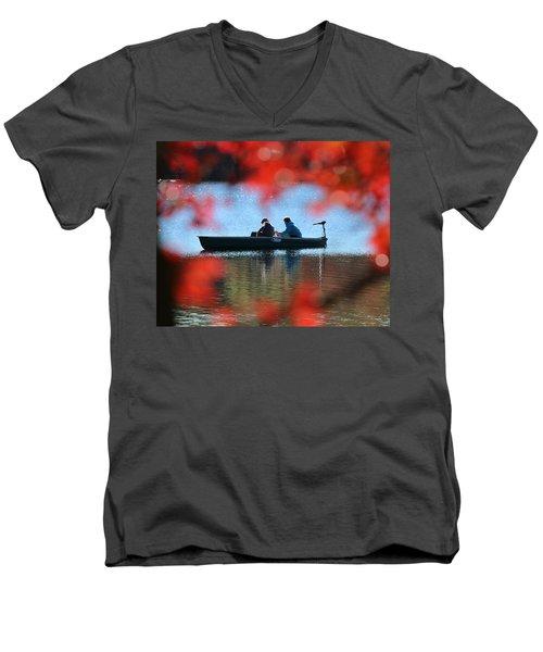 Autumn Fishing Smithtown New York Men's V-Neck T-Shirt by Bob Savage