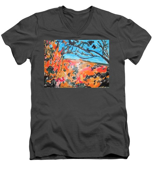 Men's V-Neck T-Shirt featuring the painting Autumn Flames by Esther Newman-Cohen