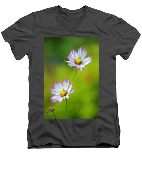 Men's V-Neck T-Shirt featuring the photograph Autumn Flowers by Byron Varvarigos