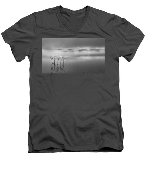 Men's V-Neck T-Shirt featuring the photograph Autumn Fog Black And White by Bill Wakeley