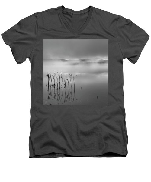 Men's V-Neck T-Shirt featuring the photograph Autumn Fog Black And White Square by Bill Wakeley