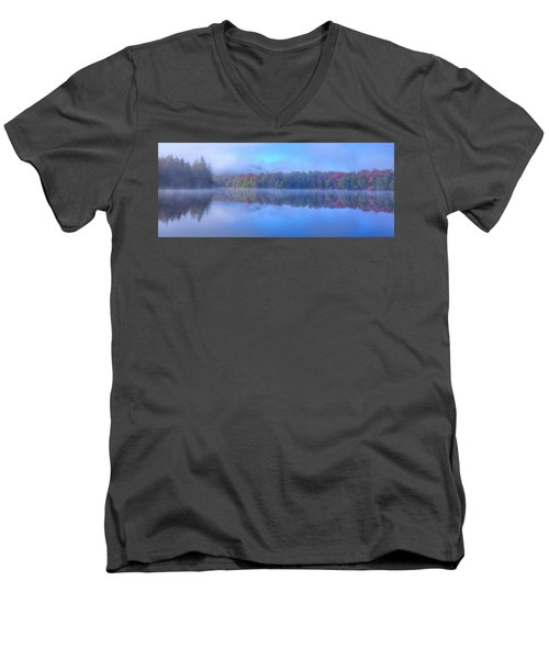 Men's V-Neck T-Shirt featuring the photograph Autumn Fog Lifting by David Patterson