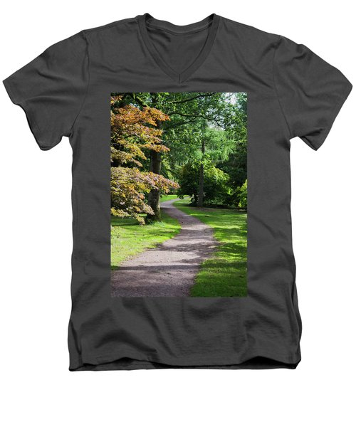 Men's V-Neck T-Shirt featuring the photograph Autumn Forest Path by Scott Lyons