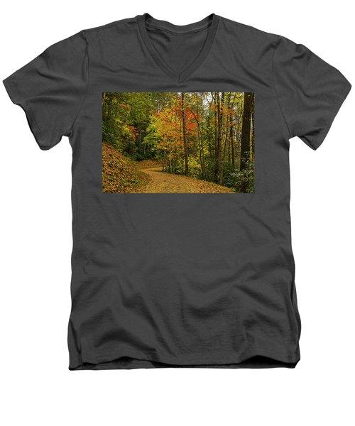 Autumn Forest Road. Men's V-Neck T-Shirt