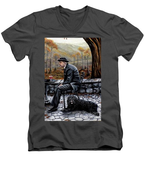 Men's V-Neck T-Shirt featuring the painting Autumn Friends by Judy Kirouac