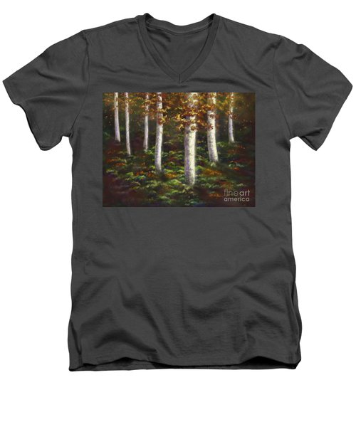Men's V-Neck T-Shirt featuring the digital art Autumn Ghosts by Amyla Silverflame