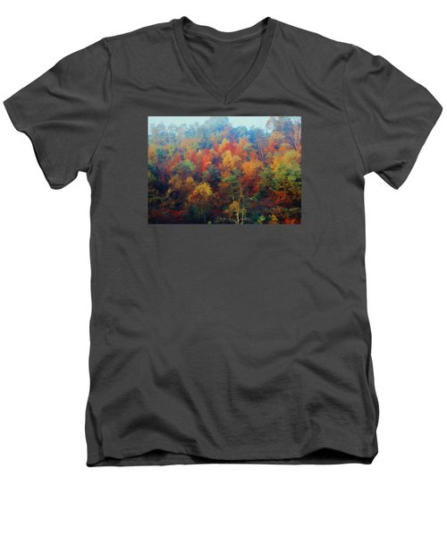 Men's V-Neck T-Shirt featuring the photograph Autumn Hill Aglow by Diane Alexander