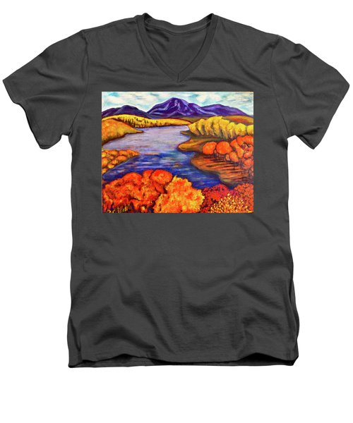 Men's V-Neck T-Shirt featuring the painting Autumn Hues by Rae Chichilnitsky