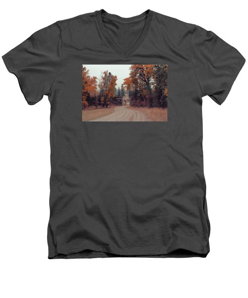 Autumn In Montana Men's V-Neck T-Shirt by Cathy Anderson