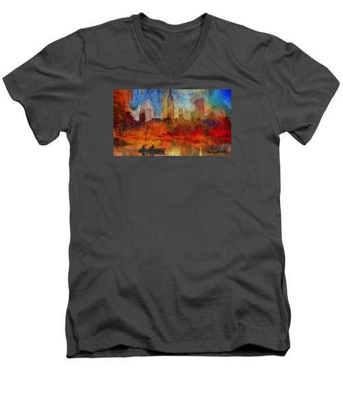 Autumn In New York Men's V-Neck T-Shirt by Ted Azriel